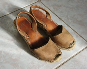 Genuine leather wedges sandals size 36 EU , 5.5 US