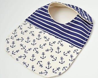 Nautical Baby Bib, Nautical Baby Shower Gift, Organic Baby Bib, Maine Baby, Blue Bib, Baby Boy Bib, Anchor Baby Bib, Nautical Baby Gift,