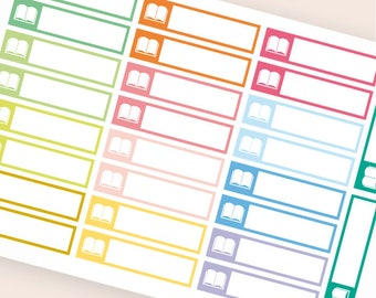 26 blank stickers, book bar sticker, box stickers, blank label, planner stickers, reading erin condre happy planner stickers