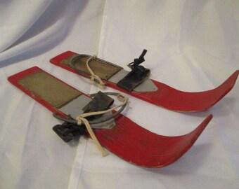 Vintage Childrens wooden red shoe skis