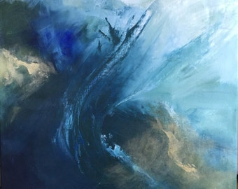 """Large Modern Blue Wave with Gold - Abstract Art - """"Big Blue"""" 44"""" x 48"""""""