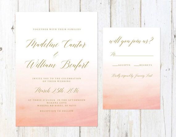 Ombre Wedding Invitation: Peach Ombre Wedding Invitation Coral Wedding Invitation Gold