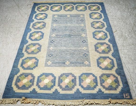 Ingegerd Silow Swedish vintage flat weave rug or rya