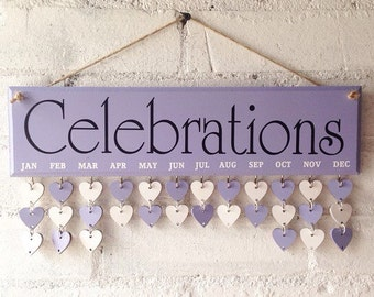Wooden reminder board, Lilac Sign, Birthday organiser, 30 tags to personalise. Celebrations reminder. Gift for Mum, Uniwue Birthday present
