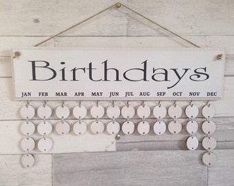 Gift for a friend, white Birthday Reminder board. Complete with 30 painted circle disks. Anniversary, organiser, useful home decor,