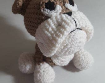 Crochet Bulldog, Amigurumi Bulldog, Bulldog Plush, Bulldog Toy