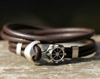 Mens wrap bracelet, leather  bracelet, handmade leather jewellery, bracelet man, anchor bracelet, bracelet en cuir