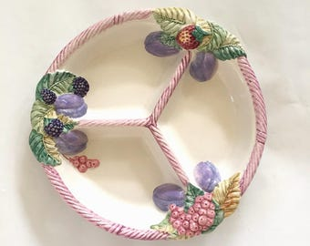 Vintage Neuwirth Portugal Hand Painted Fruit Pottery Trio Snack Platter, Round Platter, Berries and Basket Weave, Spring & Summer