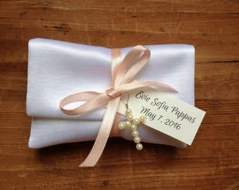 Satin Favor Bags, Gift Bags, Jewelry Pouches, White, Baptism, Wedding, Bridal Shower, Baby Shower