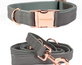 Dog collar DUST with rose gold colored hardware - handmade - pastel - collar and matching leash available