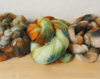Roving, Hand dyed Polworth - free domestic shipping