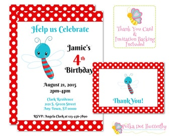 Bug Birthday Invitation, Bug Party Invitation, Girl Invitation, Boy Invitation, Personalized Invitation, Dragonfly Invitation, Bug Party