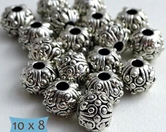 Ornate Lead Free Pewter Beads Large Holes--10 Pcs   SU107-10
