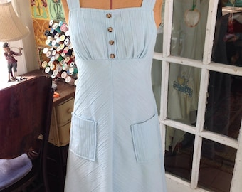 70's blue chambray sundress