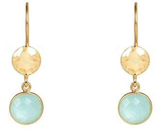 Circle & Hammer Earring Gold Aqua Chalcedony