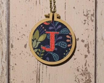J initial mini-hoop cross-stitch necklace - folk fabric