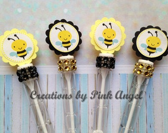 Set of 12 Black and Yellow Bee Favors, Bee Bubbles, Bee Bubble Birthday Favors, Bee Themed Party, Bee Baby Shower Party Favors