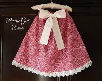 Bandana Girl Dress, Pink Bandana Dress, Baby Shower Gift, Western Lace Dress