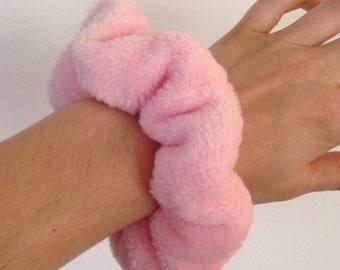 Baby pink super soft fluffy / furry hair scrunchie