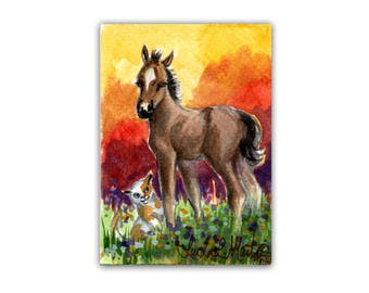 Cute Happy Mustang Foal  Wild Horse Art Cat Foal by llmartin ACEO Original Watercolor Artwork Free Shipping in USA