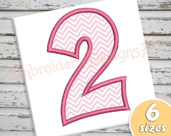 Number 2 Applique - 6 Sizes - Machine Embroidery Design File