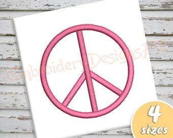 Peace Embroidery Design - 4 Sizes - Satin Stitch Machine Embroidery Design File