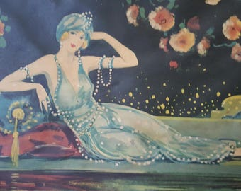 Scarce 1920's Art Nouveau Lady by Pool & Taj Mahal Wall Art Tray Wood and Bronze With Handles