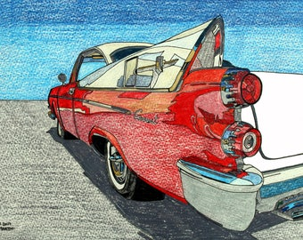 Dodge Coronet  hand-drawn drawing / painting