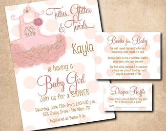 Baby GIRL Shower Invitation printable with Tutu/matching book request and diaper raffle/pink, gold, glitter, digital/wording can be changed