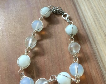 Wire Wrapped Delicate White Seaglass Bracelet handmade