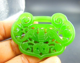 Natural AAA  green  jadeite jade dragon good luck pendants necklace