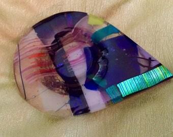 Vintage Multi Color Fused Glass Art Glass Trinket Dish Bowl