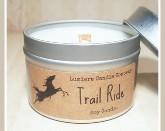 TRAIL RIDE - Equestrian Collection! - Soy Candle Tin - Horse Lover, Equestrian Gift, Equestrian Candle, Horse Candle, Saddle Candle, Horse