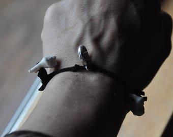wolf molars & pentagram; size small adjustable bracelet.