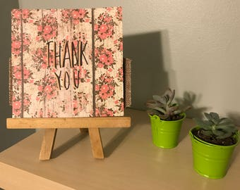 Thank You Greeting Card on Rustic Rose Wood Paper