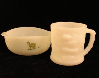"""Grog """"The Caveman's Caveman"""" Vintage Milk Glass Coffee Mug/Tea Cup and Bowl Grog Mug 50's Comic Strip Character Dinosaurs"""
