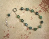 RESERVED LISTING: Custom for L, Sobek Prayer Beads in Moss Agate and Heqet Prayer Beads in Green Aventurine