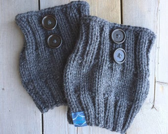 Dark Grey Boot Cuffs with Buttons