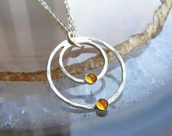 Silver Citrine Necklace, Citrine Jewelry, November Birthstone Necklace, Genuine Citrine Necklace
