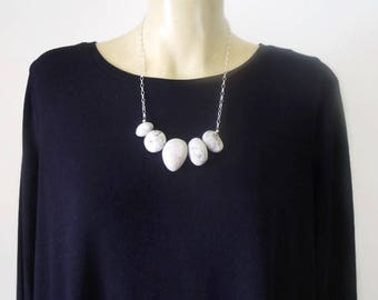 Organic Clay & Sterling Silver Pebble Necklace (no. 5)