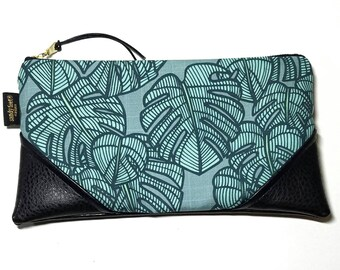 Large Teal Monstera Zipper Pouch / Clutch with inside lining and Suede Zipper Pull or Leather Wrist Strap