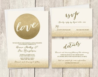 Gold Wedding Invitation Set / Metallic Gold and Cream / Champagne Gold / Wedding Invite Set ▷ Printed Wedding Invitations {or} Printable