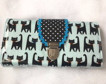 Wallet Deluxe light blue black cats