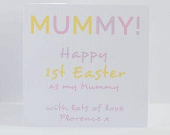 Easter Card Mummy.  1st First Easter card for a new Mummy from baby, son, daughter, twins, new born.