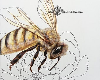 Bee Art Print Queen Bee Springtime Flowers Watercolor Bumble Bee Painting Nature Image Honey Bee Print Floral Bee Office Art Save the Bees