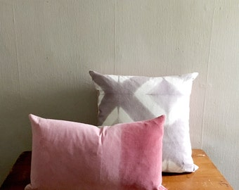 SALE: Velvet and Linen Shibori Pillow, gray and pink