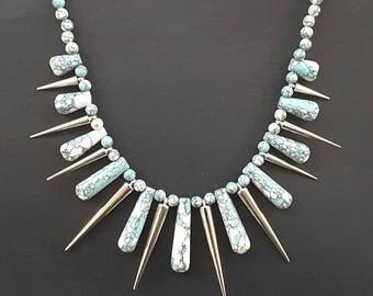 Blue Howlite Gemstone Spiked Bib Necklace, Blue Jewelry, Chakra Necklace, Gemstone Jewelry, Australian Made, Statement Necklace, Gift