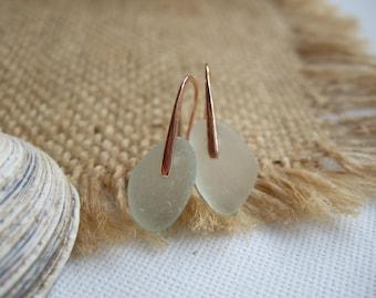 WATERDROPS...Scottish sea glass rose gold sterling silver earrings, sea foam sea glass earring, rose gold plated on sterling silver, mermaid