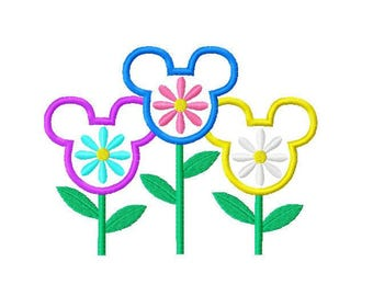 Character Inspired Flowers Embroidery Applique Design