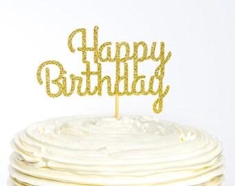 Happy Birthday Cake Topper, Custom Cake Topper, Birthday Topper, Cake Topper, Glitter Cake Topper, Happy Birthday Topper, Name Cake Topper